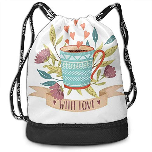 MLNHY Printed Drawstring Backpacks Bags,Hand Drawn Cup Flower Blossom and Heart with Love Quote Romantic Valentines Day,Adjustable String Closure