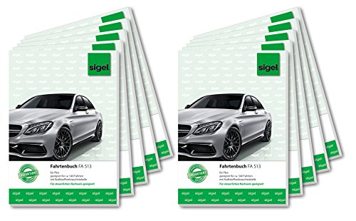 Sigel FA513/10 Fahrtenbücher A5, 32 Blatt, 10er Pack - für Vielfahrer max. 540 Fahrten