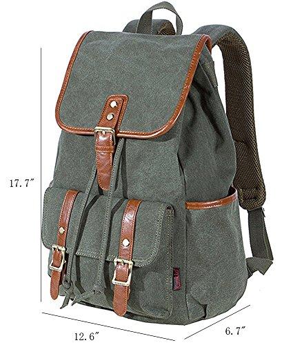 KAUKKO Herren Segeltuch Jahrgang Laptoptasche Reise Rucksack mit 27×21×48 cm Khaki Army Grün