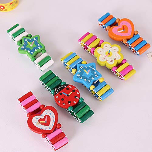 UxradG - Reloj de Madera con Dibujos Animados para emular, Juguetes, Manualidades, Relojes de Pulsera, Regalo de cumpleaños para niños, bebés, Estudiantes, etc.