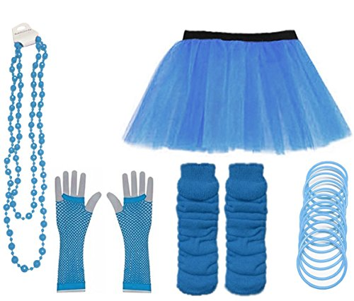 Momo&Ayat Fashions Ladies Neon UV Tutu Set Skirt Gloves Leg Warmers Bracelet Beads 80s Costume Size 6-22 (Turquoise, UK 16-22 (EUR 44-48))