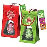 Par de Huevos de Pascua: Rompecabezas de laberinto en 3D, juguetes sorpresa para la búsqueda de huevos y decoración de Pascua, todo en uno para regalarlos como regalos para la Pascua, Rojo-Verde
