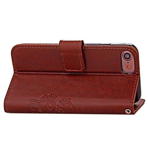 """MOONCASE iPhone 7 Étui, Trèfle à Quatre Feuilles Modèle Housse Pochette en Cuir Étui à rabat Portefeuille Porte-cartes [Antidérapant] TPU Case avec Béquille pour iPhone 7 (4.7"""") Noir Brun"""