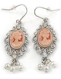 Pendientes de gota inspirados en estilo vintage, color rosa claro con cuentas de perlas en tono plateado, 50 mm de largo