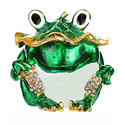 prbll Ornamente 2,5-Zoll-Frosch-Trinket-Boxen Klappbare Ringhalter, Bejeweled Jeweled Sammlerstück Tier Schmuck Trinket Box Geschenke Für Frauen/Mädchen Bejeweled Tier