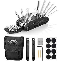 Migimi Trousse d'outils de vélo, Outils Réparer pour Velo 16 en 1 Ensemble Bicyclette Réparation Kit Outil Multifonction, avec Kit de Patch, Leviers de Pneu, Vélo Réparation Kit