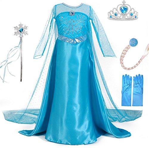 Deguisement-Robe-Princesse-LiUiMiY-Costume-Enfant-Fille-dhalloween-Carnaval-Cosplay-Anniversaire-Fte-avec-Gants-Baguette-magique-Tresse-Couronne