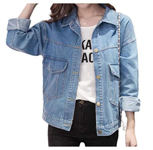 CuteRose Women's Single-Breasted Turn Down Collar Spring/Autumn Boyfriends Jean Jacket Short Denim Coat Light Blue XS Medium Wash Denim Vest