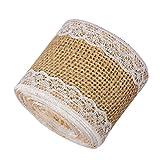 Doubleer 20M Leinen Craft Ribbon Roll mit Weißer Spitze für DIY Handgemachte Hochzeit Handwerk