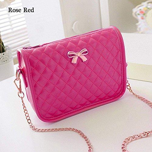 Minetom Ledertasche Damen Bowknot umhängetasche Handtasche Satchel Messenger Purse Tasche 5 Farben Rose