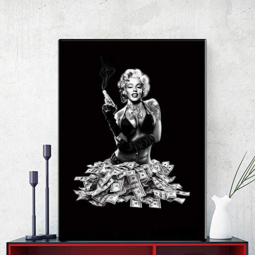 w15Y8 Wall Art Pictures Home Decor Wall Poster Decoration for Living Room Prints Marilyn Monroe On Canvas-60X90Cm No Frame (Picture Frames Marilyn Monroe)