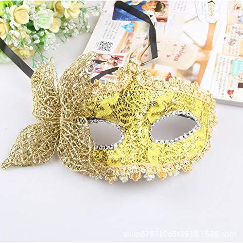 YP Masquerade Maske Frauen Sexy Schwarze Glitter Fancy Katze Spitze Augenmaske Neuheit Rolle Spielen Erwachsene Und Kinder Rubber Ghost Festival,Yellow