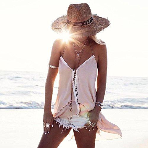 Longra Donna Vestibilità irregolare senza maniche con colletto a V Cachi