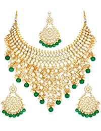 Sukkhi Gold Plated Kundan Pearl Fancy Choker Necklace Set Traditional Jewellery Set with Earrings for Women & Girls (N73509)