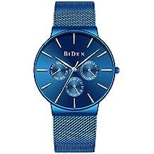 Relojes para Hombres Reloj de Malla Impermeable Azul Hombre Relojes de Acero Inoxidable Diseñador Simple de