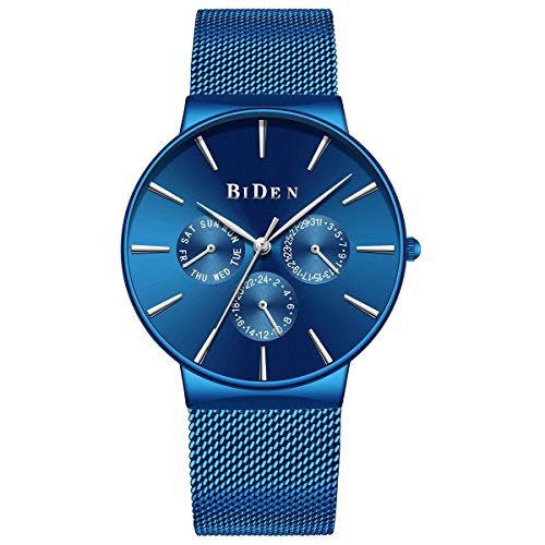 Dinghang Herren Analog-Quarz-Uhren Tag Woche Kalender Armbanduhr mit blauem Edelstahlband (blau) -