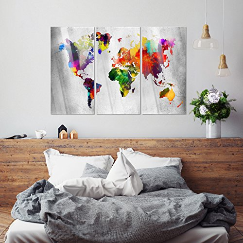 murando Modernes Acrylglasbild 120x80 cm - Glasbilder - 3 Teilig - Wandbilder XXL - Kunstdrucke - Wandbild - Weltkarte Welt Karte Kontinent Landkarte k-A-0098-k-e - 5