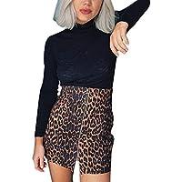 Falda con Estampado de Leopardo para Mujer Cintura Alta Lápiz Sexy Bodycon Mini Falda de Cadera Skirt Corto BIBOKAOKE
