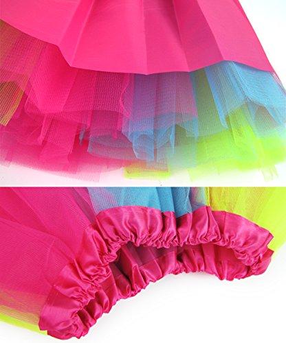 Mangotree Damen Tütü Minirock Organza Pettiskirt 3 Layers Petticoat Tanzkleid Unterrock Perfekt für Fasching Himmel Blau