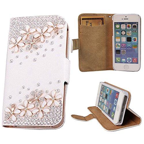 """xhorizon TM ZY Luxe 3D Bling strass cristal faux diamant cuir flip Folio Etui Coque Housse Poche Case Cover avec stand portefeuille pour 4.7""""iPhone 6 Fleuraison"""