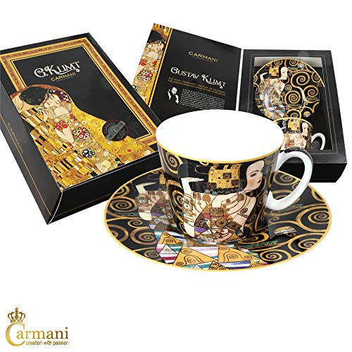 CARMANI - Coupe porcelaine avec soucoupe décorée avec Attente de Gustav Klimt