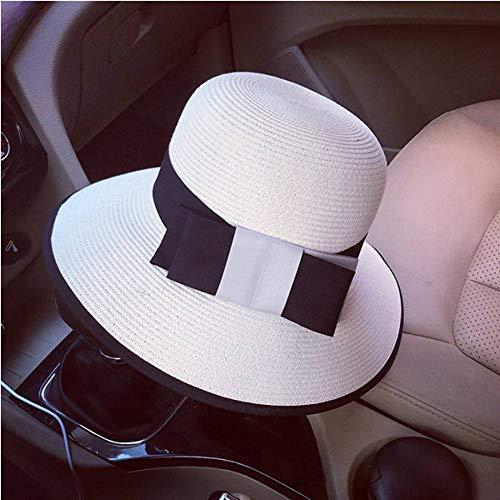 WREIJH Style Women Summer Straw Hat Ribbon Bow Bowler Cloche Bucket Sun Hat Cap Church Tea Party Beach Wide Hat,White (As Show)