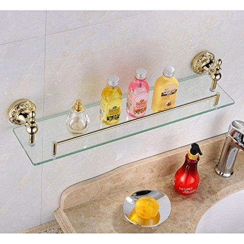 Weare Home Badezimmer Regal Badzubehör Modern Ti-PVD Finish Messing Antik Material Duschkorb Glasablage Glasregal Wandmontage -