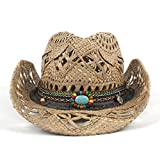 CSNMALL Elegante Cappello Da Cowboy Occidentale 100% Paglia Decorazione Di Moda 56-58cm AZQ (Color : Black, Size : 56-58CM)
