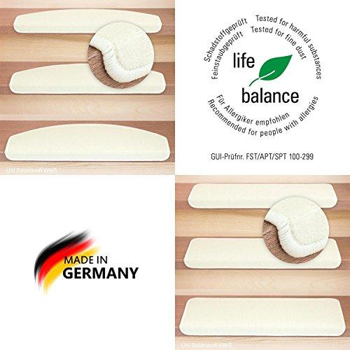 Kettelservice-Metzker® Stufenmatten Vorwerk Uni Einzeln und Sparset's Baumwollweiss 15 Stück Halbrund