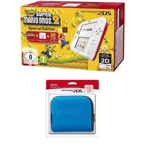 Pack Nintendo 2DS - blanc & rouge + New Super Mario Bros. 2 + Pochette de transport