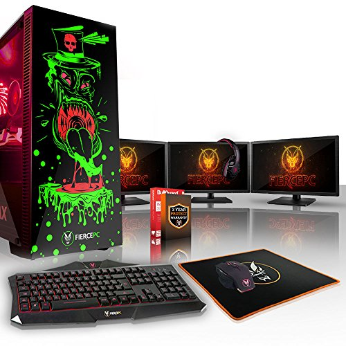 Fierce Gobbler High-End RGB Gaming PC Bundeln - 4.1GHz 6-Core Intel Core i5 8500, 1TB SSHD, 16GB, GTX 1060 6GB, Tastatur (QWERTY), Maus, 3X 24-Zoll-Monitore, Headset 844707