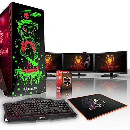 Fierce Gobbler RGB Gaming PC Bundeln - Schnell 3.5GHz Quad-Core Intel Core i5 7400, 2TB HDD, 16GB, NVIDIA GeForce GTX 1060 6GB, Tastatur (VK/QWERTY), Maus, 3X 21.5-Zoll-Monitore, Headset 837079