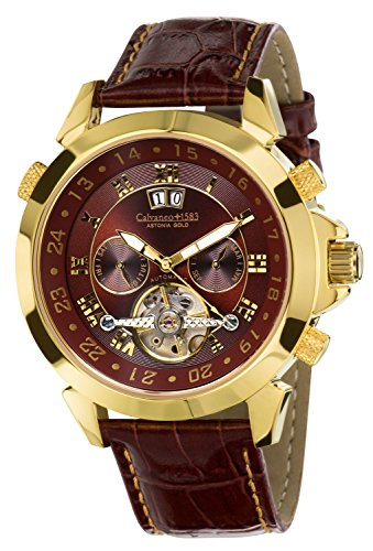 Calvaneo Astonia Luxury Cognac 1583 Men's Watch Automatic Brown Leather Gold Analog 107924