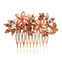 XuanYing Women Bridal Wedding Jewelry Crystal Rhinestone Flowers Hair Comb Pin (Orange)