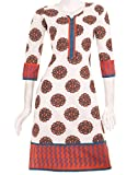 White 'N Orange eSTYLe Printed Kurta Wit...