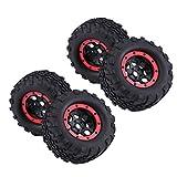 Dilwe 2/4pcs Reifen & Naben Set, Metall Rad Felgen Naben und Gummi Reifen für 1: 8 RC LKWs(4 Stück)