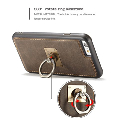 Wkae CaseMe Fall mit 360 drehender Finger-Ring-Standplatz-Entwurf und magnetische rückseitige Abdeckung für Apple iPhone 6s ( Color : Yellow ) Coffe