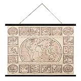 balvi-HistoriaNavigationes,DasdekorativeWandposterimVintage-Stil.AlteWeltkarte.AusStoffundHolz.Format:74x100cm.