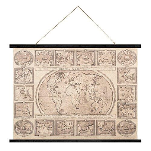 Balvi-HistoriaNavigationes,dasdekorativeWandposterimVintage-Stil.AlteWeltkarte.AusStoffundHolz.Format:74x100cm. (Weltkarte Stoff Poster)