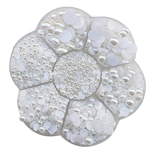 nde Perlen, flache Rückseite, lose Perlen, flower white ()