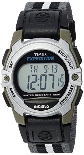 timex unisex twh2z8710 expedition mid-size digital cat gray/black/white stripe nylon strap watch