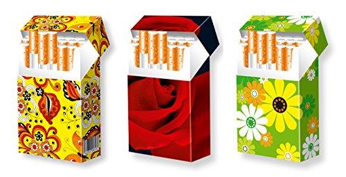 slipp overall - 3er SET - Designs: FLOWERPOWER + ROSE + FRÜHLINGSBLUMEN - hübsche Zigarettenschachtel Hüllen aus Karton - 3 Stk. komplette Überzieher mit Deckel - Standardgröße für die meisten L-Schachteln (näheres zur Größe s. Produktbeschreibung)