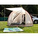 Skandika Camper Tramp Free-Standing Minivan Awning Tent with 2-Berth Sleeping Cabin and 210 cm Peak Height, Sand/Red, 2 Persons 12