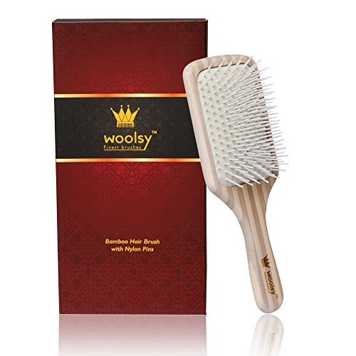 Woolsy™ Anti-Bacterial Bamboo Hair Brush For Men & Women w/ Pure Nylon Bristles ~ Best use After Shampoo/Shower ~ Detangling Paddle Brush for Hair Straightening & Smoothing ~ For Wet hair and Dry hair