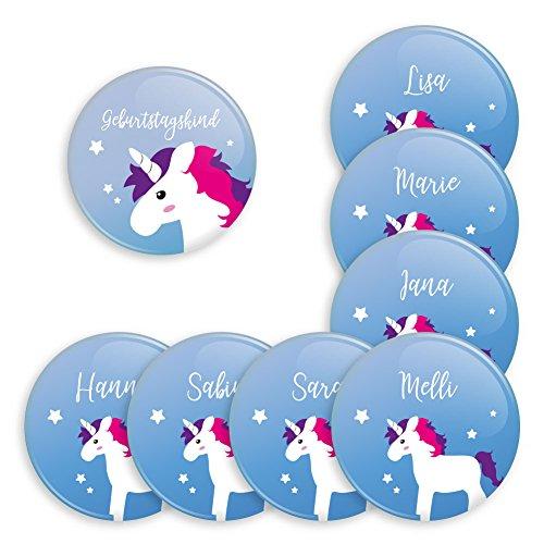 8er Set personalisierbare Buttons für feierliche Anlässe - Geburtstag - Taufe - Babyparty - als Mitbringsel oder Geschenk für Freunde und Familie (38mm mit Magnet Anstecker) Motiv Einhörner / Unicorn