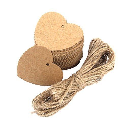 Tinksky Cuore a forma di etichetta di carta con 10M di corda per la decorazione partito di nozze - 100pcs (marrone)