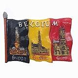 MUYU Magnet 3D Bruges Gante Bruselas Bélgica imán para Nevera Tourist Souvenir colección de...