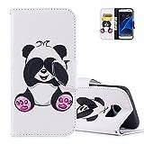 S7 Edge Lederhülle,Aeeque Flip Case Cover Hüllen,Süß Neuheit Tier Panda Muster Schutzhülle,Kartenfächer Ständer Handycover Hülle für Samsung Galaxy S7 Edge mit Weich Silikon Innere Bumper