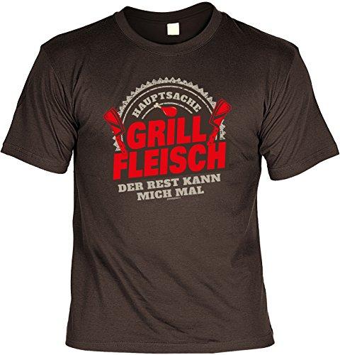 T-Shirt Hauptsache Grill Fleisch Der Rest kann mich mal Grill T-Shirt Geschenkidee Grillen Grill Party Geschenk zur Grillsaison Braun
