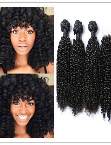 Jff/4 pcs/lot non transformés Tissage de cheveux humains mongol Cheveux Vierges crépus Curl Trame Extensions de cheveux avec top en dentelle Fermeture, 28 30 32 & 26-3 part
